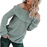 Fitfulvan Clearance! Womens Off The Shoulder Pullover Sweater Oversized Knitted Jumper (Blue,Asian S = US XS)