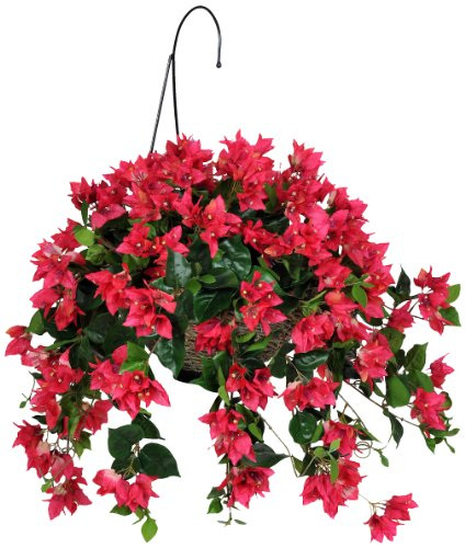 House Of Silk Flowers Artificial Watermelon Red Bougainvillea Hanging Basket Amazoncouk Kitchen Home