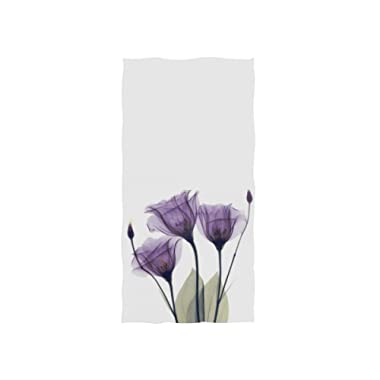 Naanle Purple Flower with Bud Leaves On White Violet Floral Design Soft Bath Towel Absorbent Hand Towels Multipurpose for Bathroom Hotel Gym and Spa 30 x15