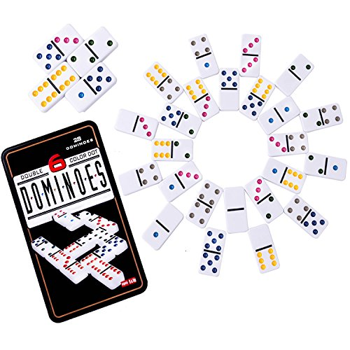 Double 6 Dominoes Set (Color Dominoes Game Set, DOUBLEFUN Double 6 Color Dot Dominoes with Collector Tin, Set of 28)