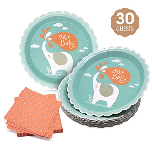 Baby shower plates and Napkin set – Disposable mint and peach 400 gsm paper Dinnerware-3-ply Cocktail Napkins with White…