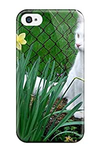 Protective Tpu Case With Fashion Design For Iphone 4/4s (white Cat Among The Flowers)