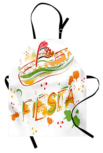 Lunarable Mexican Apron, Hand Drawn Fiesta and Sombrero Straw Hat Motifs with Watercolors Splashes Image, Unisex Kitchen Bib with Adjustable Neck for Cooking Gardening, Adult Size, Orange Green