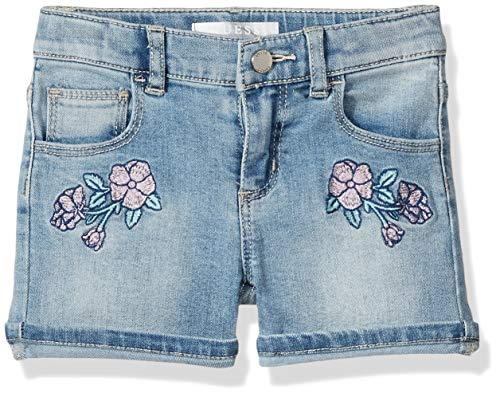 GUESS Girls' Little Embroidered Denim Shorts, Glitter lace Blue wash 2