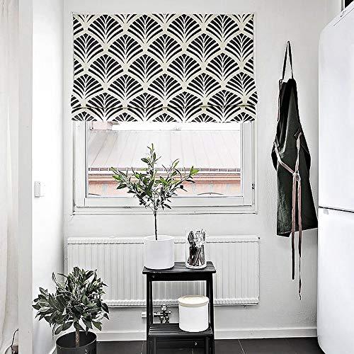 KARUILU home Quick Fix Washable Roman Window Shades Flat Fold, Geometric Color Pattern (27W x 63H, Ginkgo) - Treatments Roman Window