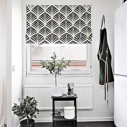 KARUILU home Quick Fix Washable Roman Window Shades Flat Fold,Black and White Pattern (27W x 63H, Ginkgo) …