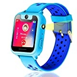 Kids GPS Tracker Smart Watch Phone, Vannico Smart Watches for Girls Boys 1.44'' Touch Screen Sim Card Game Smartwatch with SOS, Camera, Flashlight for Children Gift (Blue)