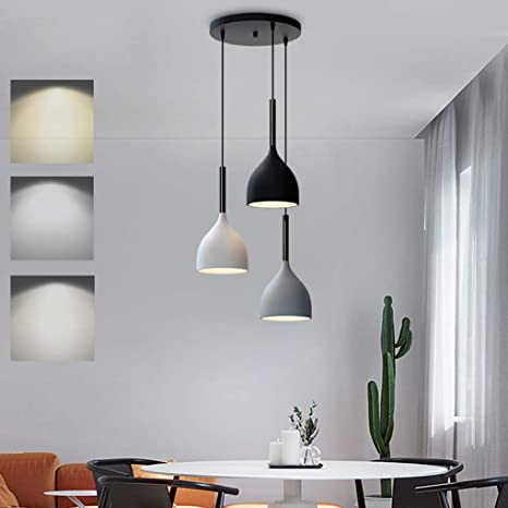 Led Pendant Light Metal Dimmable Dining Room Dining Table Lamp Hanging Light Height Adjustable 3 Bulb Dining Room Lamp Modern Design Dining Table Lamp With Wooden Decoration 15 W Pendant Lamp For