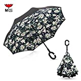 Folding Inverted Reverse Umbrella Double Layer Windproof Umbrella Rain UV Proof Umbrella Hand Free & Self-Standing Mothers Day Gift, Car Use