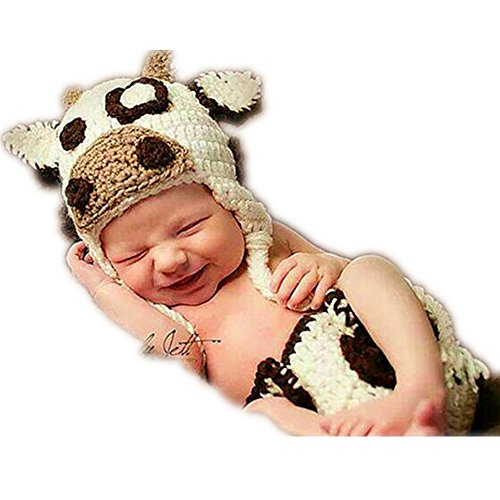 SIKEMAI Newborn Photography Props Outfits - Baby Boy/Girl Knitted Hat Pants Cow Costume (Cow Girls Costume)