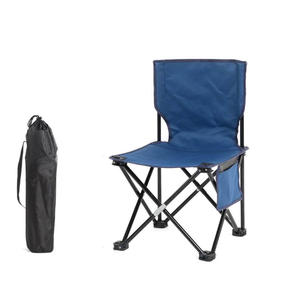bluee Medium Folding Camping Chair with Back, Portable Folding Stool 600d Oxford Outdoor Folding Chair with Carry Bag Fishing Travel Hiking Picnic Beach Quickly Fold Chair Stool-b M