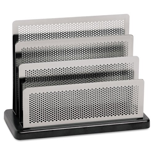 Metal Mini Sorter - Rolodex : Mini Sorter, Three Sections, Metal/Wood, 7 1/2w x 3 1/2d x 5 3/4h, Black/Silver -:- Sold as 2 Packs of - 1 - / - Total of 2 Each