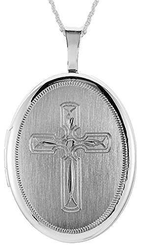 0.925 Sterling Silver Oval Cross Locket Pendant 1.5mm Rope Chain Necklace