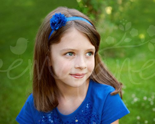 Ema Jane - Mini Satin Mesh Hair Flowers Glued to Iridescent Skinny Headbands (18 Pack)