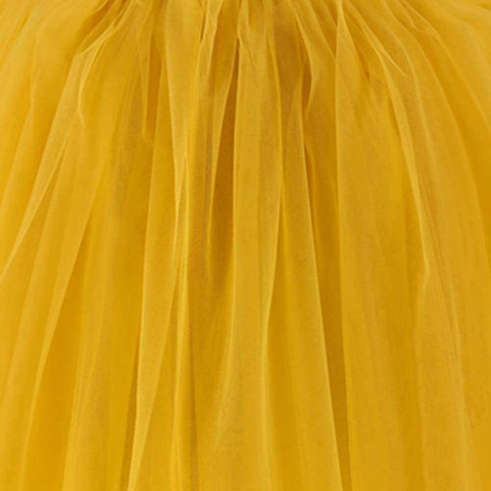 Womens Long Tutu Tulle 5 Layers Skirt Elastic Waist A Line Floor Length Prom Party Skirts Petticoat