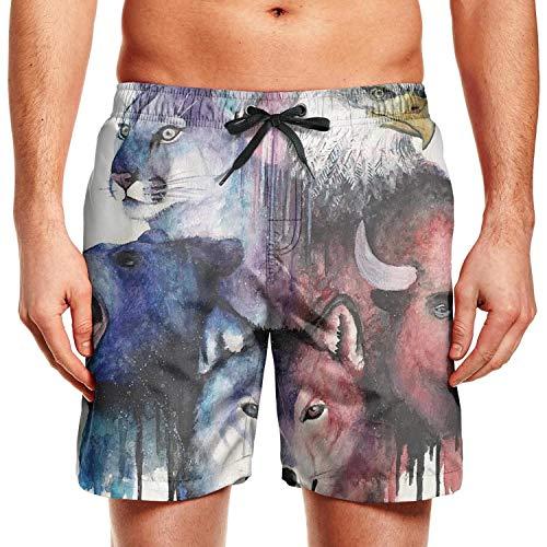 Pretty Young Men Beach Shorts Wolf Bear Cheetah
