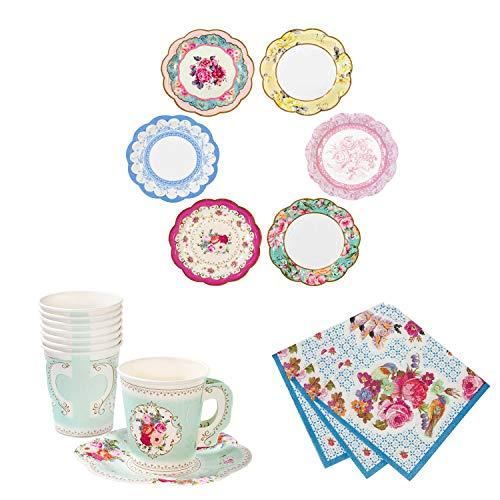 Talking Tables Truly Scrumptious Bundle For Tea Parties & Weddings   Vintage Floral Paper Plates, Napkins, Teacup & Saucer Set ()