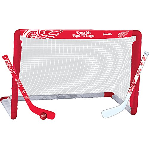 (Franklin Sports Detroit Red Wings Mini Hockey Knee Hockey Goal, Ball & 2 Stick Combo Set - 28