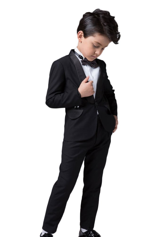ICEGREY Boys' Boys Formal Dress Suit Set With Bow Tie Black 3-4 Years