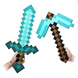 Pixel Foam Sword Pickaxe Combo, Set Of 2, Foam Blue Diamond Sword and for Boys and Girls for birthday party Pixel Miner Gaming not minecraft