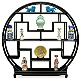 China Furniture Online Elmwood Curio Stand, 72 Inches Moon Style Design Curio Display Stand Black