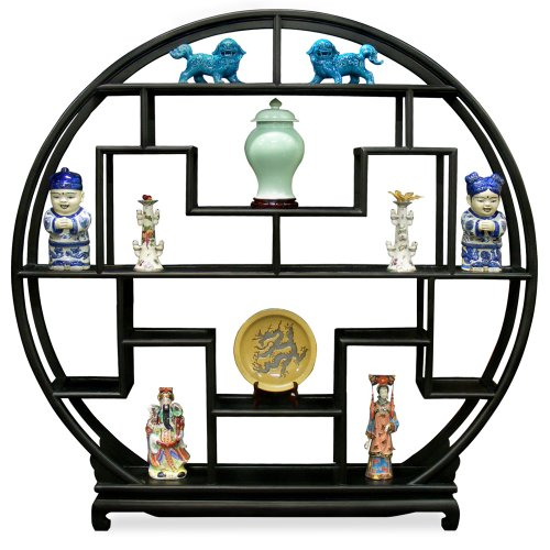 ChinaFurnitureOnline Elmwood Curio Stand, 72 Inches Moon Style Design Curio Display Stand Black