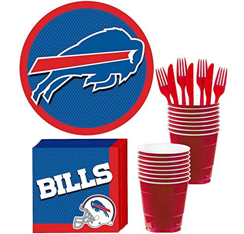 Party City Buffalo Bills Party Supplies for 18 Guests, Include Paper Plates, Paper Napkins, Plastic Cups, and Utensils]()