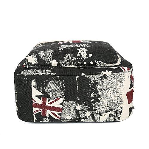 Greeniris mujer lona mochila viajar vendimia colegio mochila para niña Negro - noir rouge