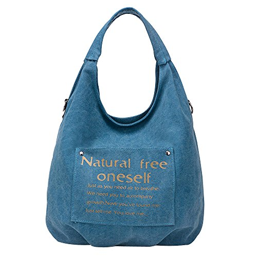 Women's Hobos Pleated Tote Flowertree Bag Canvas Structured Blue Bag Shoulder pIwdWdqP