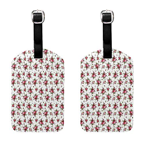 Luggage ID Tags - 2-pack Flowers,Bridal Bouquets Pattern with Roses and Freesia Romantic Victorian Composition,Pink Ruby Green Baggage Suitcase 1 Piece
