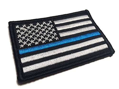 Velcro Attachment (Police Law Enforcement Tactical Morale American Flag USA Velcro Patch for molle attachments, bulletproof vests, and backpacks (Thin Blue Line, 2