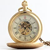 Zxcvlina Classic Smooth Retro Mechanical Pocket Watch Golden Unisex Roman Numberals Pocket Watch with Chain Suitable for Gift Giving