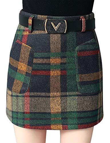 (IDEALSANXUN Women's Short Plaid Wool Skirt (Large, Green))