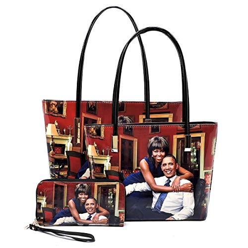 Glossy magazine cover collage Michelle Obama printed two stand alone tote bags and one matching wallet 3pcs set, 3 in 1 (Pic#B-MTBK)