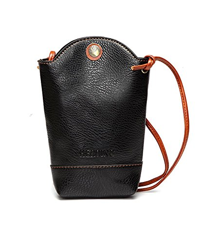 WeeDee Women Irregular Little Phone Bag small Trendy messenger bag Casual PU Crossbody Bag Bucket Bag (Black)