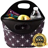Large Lunch Bag - Insulated Neoprene Tote - Heavy Duty Zipper - 13 x 11.5 x 5 inches - for Men, Women & Kids