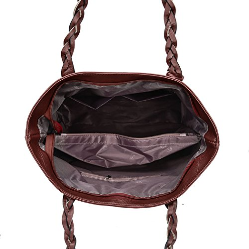 Women's Handle PU Shoulder Crossbody Bag Golden Tote Satchel Bags Hobos Leather Bag Top Handbags PqPrXSwx