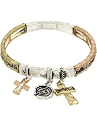 John 3:16 'For God So Loved the World' Bible Verse Stretch Charm Bracelet with Bookmark