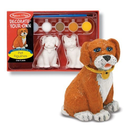 Melissa & Doug Decorate-Your-Own Pet Figurines Craft Kit - Paint a Cat and Dog