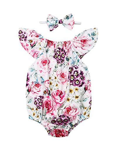 Newborn Kids Baby Girls Clothes Floral Jumpsuit Romper Playsuit + Headband Outfits (White, 6-12 Months)