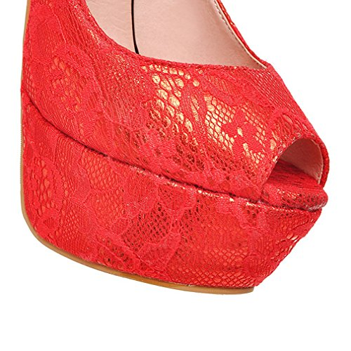 ENMAYER Womens Spring And Summer Fabric Flowers Fresh Trend Chunky Style Thin High Heeled Pumps Red 8ex0LwAh