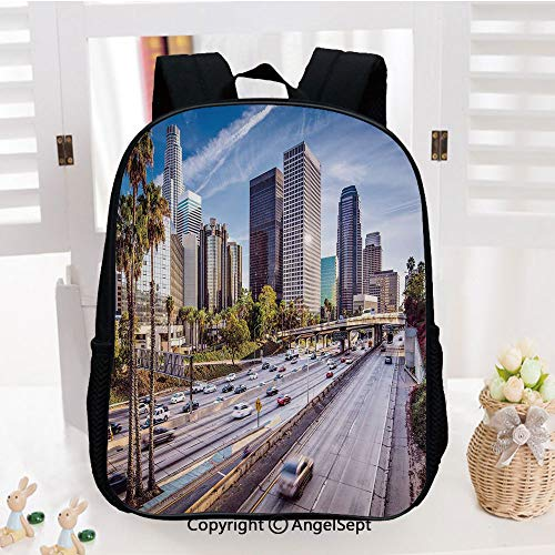 Casual Style Lightweight Backpack Downtown Cityscape of Los Angeles California USA Avenue Buildings Palms School Bag Travel Daypack,Blue Grey Green