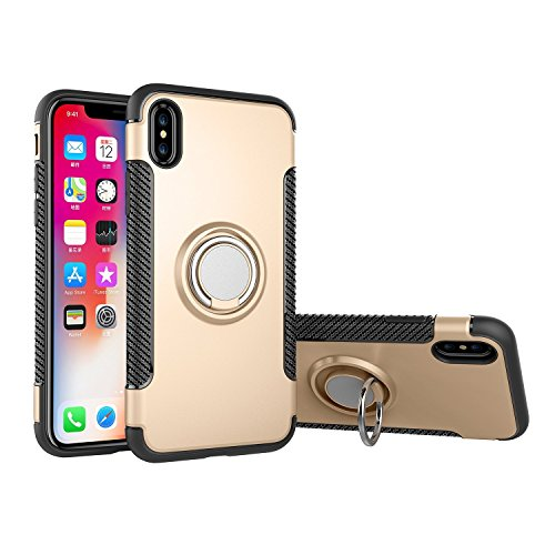 For iPhone 6S Plus Case,CHEEDAY [Newest] Rugged 2 in 1 Case with Ring Holder Kickstand Drop Protection Cover Soft Rubber Bumper Case for Apple iPhone 6 Plus / iPhone 6S Plus (Gold)