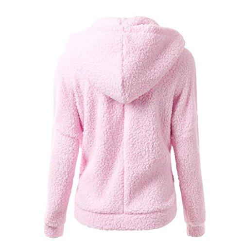 cremallera algodón de invierno mujer Abrigo Rosado Internet Abrigo de Abrigo Outwear lana capucha de con de cálido wqRxxBfFp