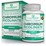 Premium Chromium Picolinate Supplement by PurePremium Supplements [100 Capsules, 200MCG] | Supports Weight Loss & Health Blood Sugar Levels | Aids Fat, Protein & Carbohydrate Metabolism