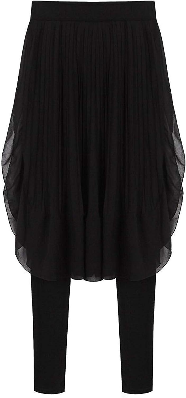 Señoras Irregular Swallowtail Dos Polainas con Hem Pseudo Falda Colores Moda Completi Sólidos Pantalones De Cintura Elástica Pantalones De Falda