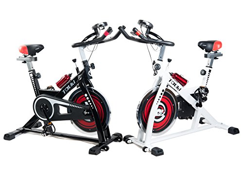 Tauki Indoor Upright Exercise Bike W/ LCD Monitor Cycling Bike for Health and Fitness, White