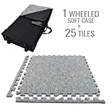 IncStores Premium Soft Carpet Foam Tiles 2ft x 2ft (25 Tiles, Light Grey, With Wheeled Soft Case) Interlocking Home & Trade Show Flooring Foam Mats Including 2 Edge Pieces…