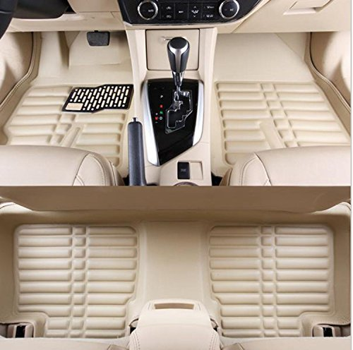 Carpet Beetle Volkswagen (FLY5D Car Floor Mats Front & Rear Waterproof Carpets for Volkswagen BEETLE 1998-2010 (Volkswagen BEETLE 1998-2010, Beige))
