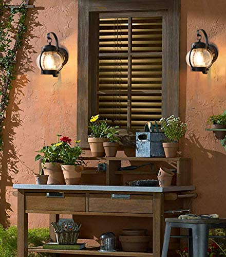 Dusk to Dawn Sensor Wall Lantern Outdoor Light Fixture Wall Mount, Black Exterior Led Outdoor Lighting Porch Light with E26 Base Socket, Anti-Rust Seeded Glass Waterproof Wall Lamp for Garden, Garage - 【NOT Motion/Solar Type】Dusk-to-dawn photocell porch lights,turn night into light;automated turns ON at sundown/night, OFF at sunrise/daytime, help saving money. 【Easy Installation 】All mounting accessories are included for quick and easy installation . Open bottom allows to replace bulb easily. During 1 years after the purchase, with any problem, please feel free to CONTACT US for a satisfactory solution. 【Superior LED Bulb Included】no need to buy a light bulb separately. High output up to 750 lumens, the light diffuses to a larger area, illuminates your way home at night. Replaces 60W incandescent vintage bulbs by 6W LED only, save up to 90% energy. - patio, outdoor-lights, outdoor-decor - 514TgfzrZRL -